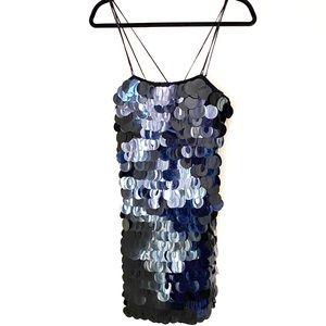 Poleci black Mini Dress Mirror Like Discs NWT